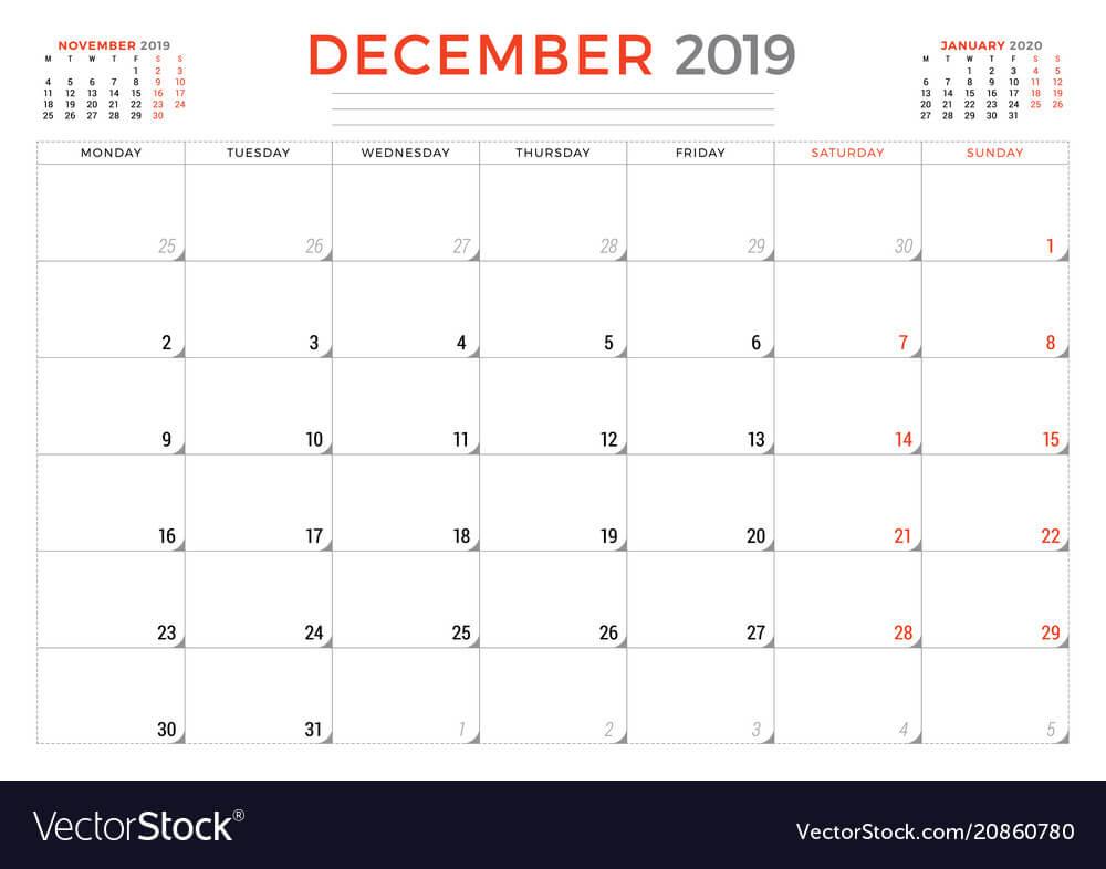 December 2019. Calendar planner stationery design template. Vector illustration